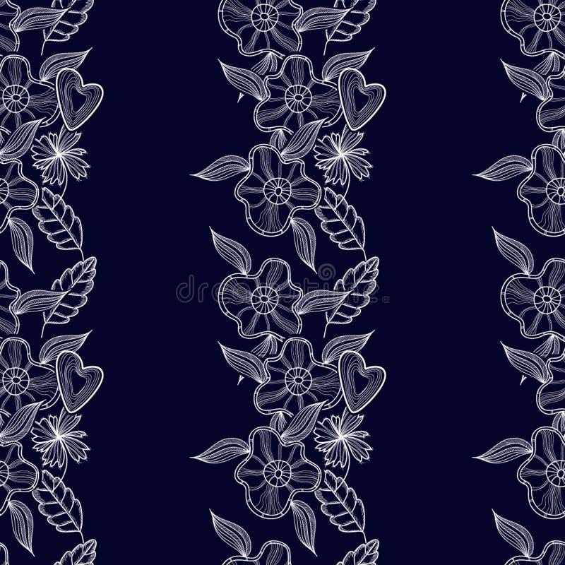 Modèle floral profond avec des fleurs illustration stock