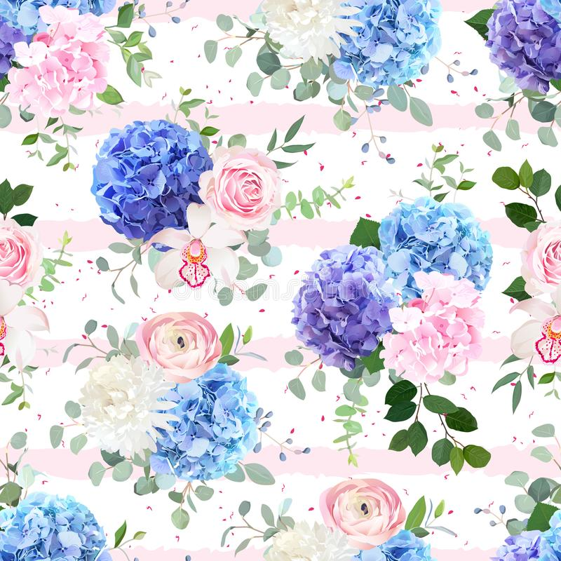 Modèle floral rayé et pointillé sans couture de vecteur illustration libre de droits