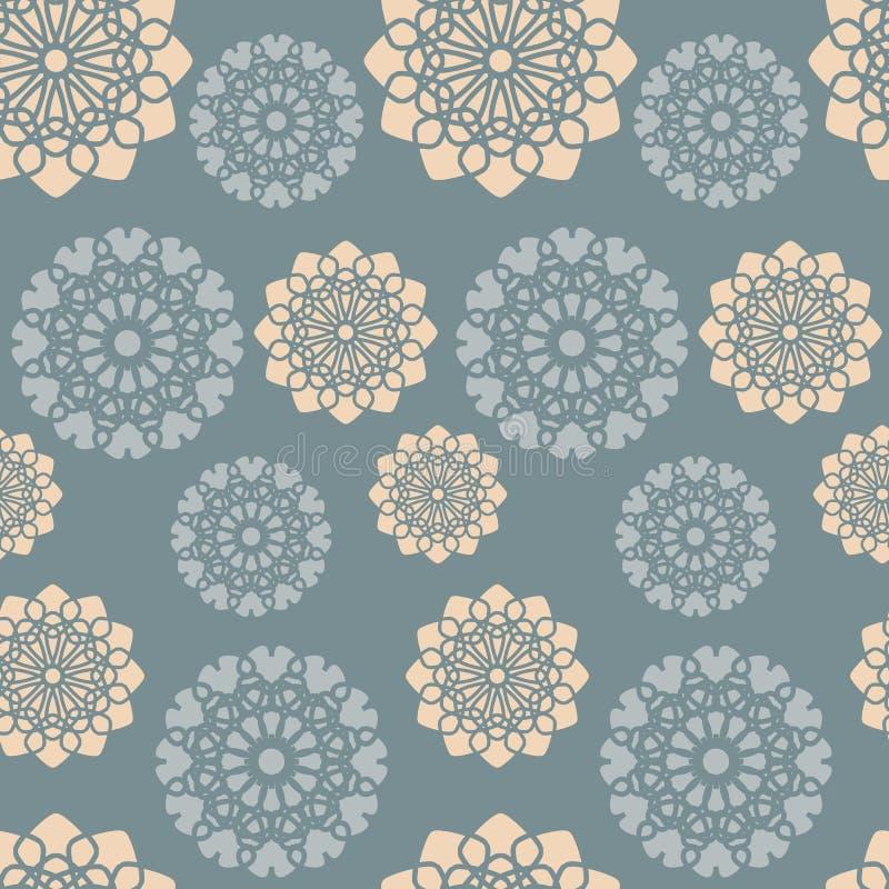 Modèle floral rose bleu et orange poussiéreux illustration stock