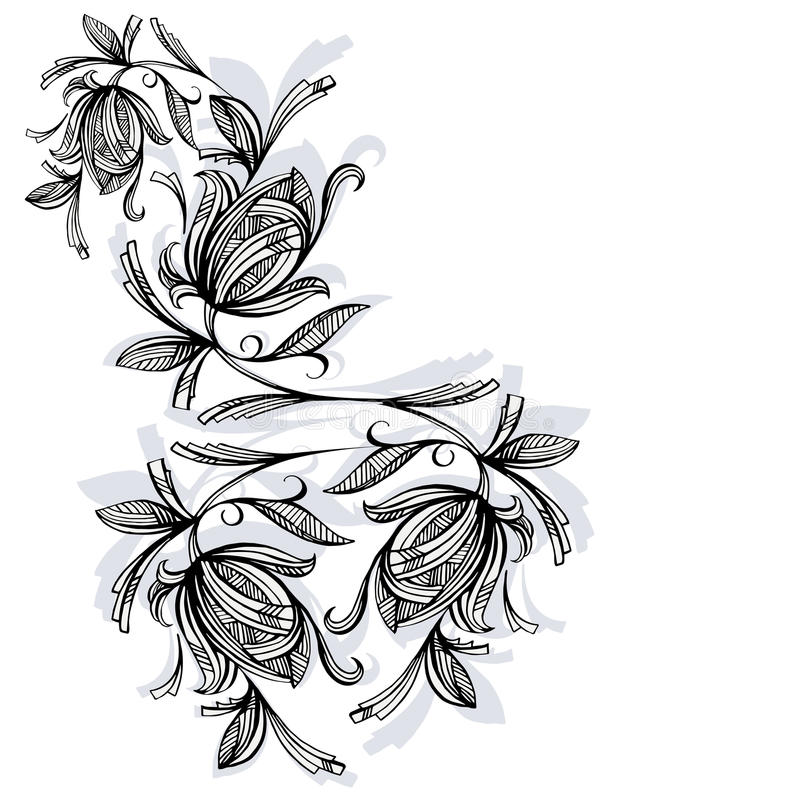 Modèle floral, rose noire et blanche illustration libre de droits