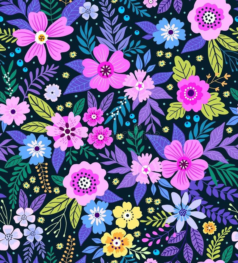 Modèle floral sans couture étonnant illustration de vecteur