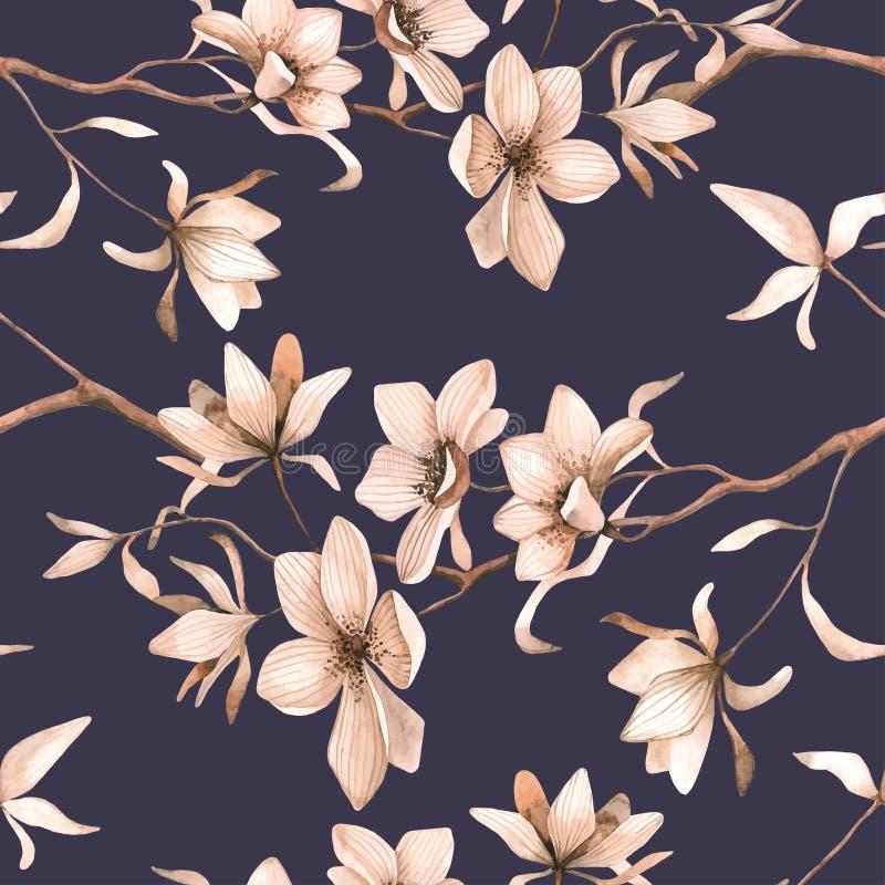 Modèle floral sans couture abstrait avec des roses rouges et freesia rose et bleu sur le fond noir illustration stock