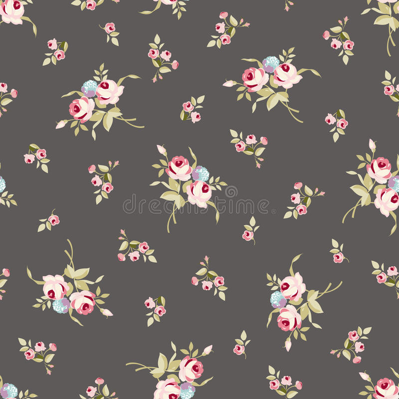 Modèle floral sans couture avec de grandes et petites roses roses illustration de vecteur