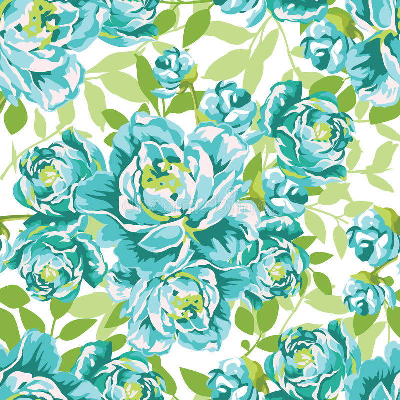 Modèle floral sans couture avec de grandes pivoines bleues illustration de vecteur