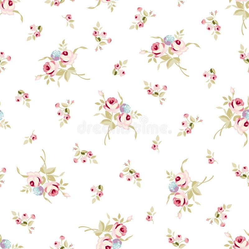 Modèle floral sans couture avec de petites roses rouges illustration de vecteur