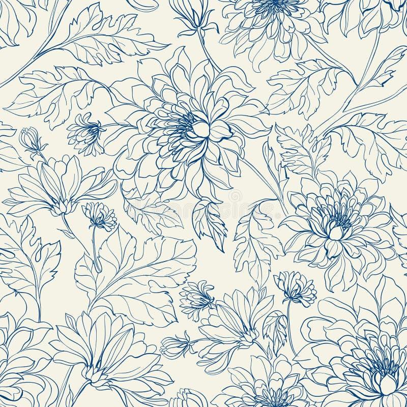 Modèle floral sans couture avec des chrysanthèmes illustration de vecteur