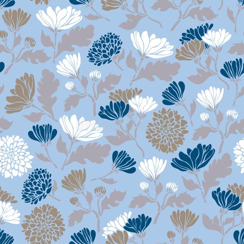Modèle floral sans couture avec des chrysanthèmes Texture avec la flore de pré pour des surfaces, papier, emballages, milieux, sc illustration libre de droits