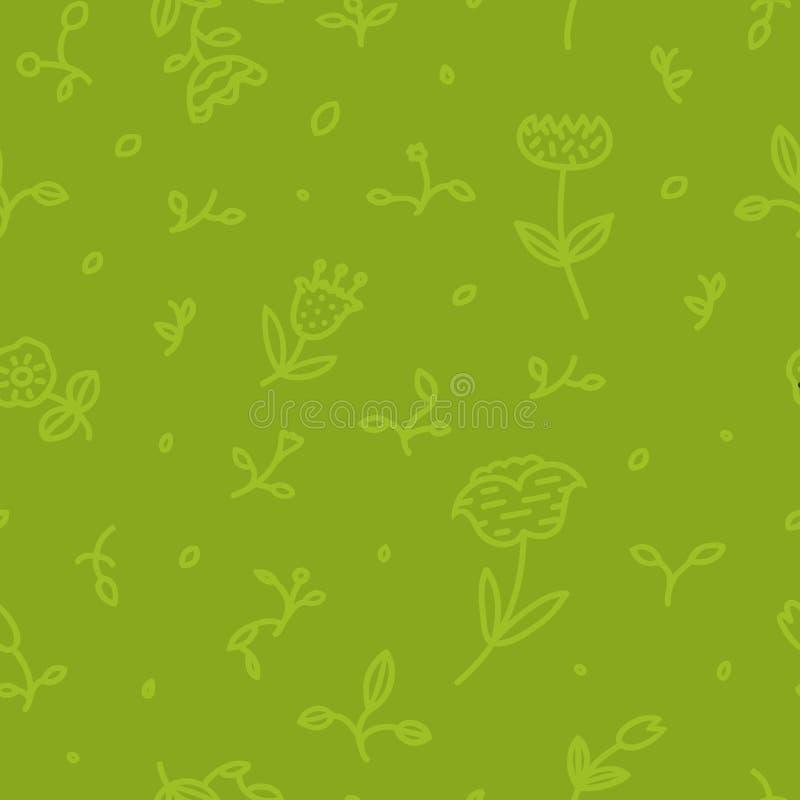 Modèle floral sans couture avec des fleurs et des feuilles sur le fond vert dans la ligne style à la mode illustration de vecteur