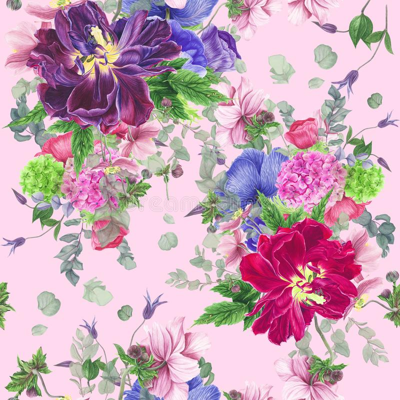 Modèle floral sans couture avec des tulipes, des anémones, l'hortensia, l'eucalyptus et des feuilles, peinture d'aquarelle illustration libre de droits