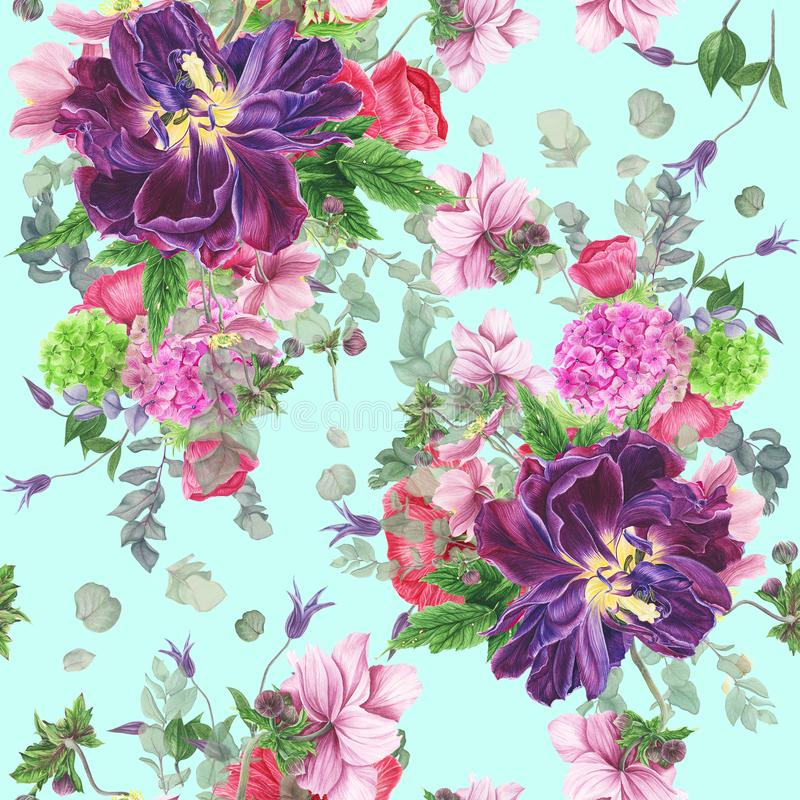 Modèle floral sans couture avec des tulipes, des anémones, l'hortensia, l'eucalyptus et des feuilles, peinture d'aquarelle illustration de vecteur