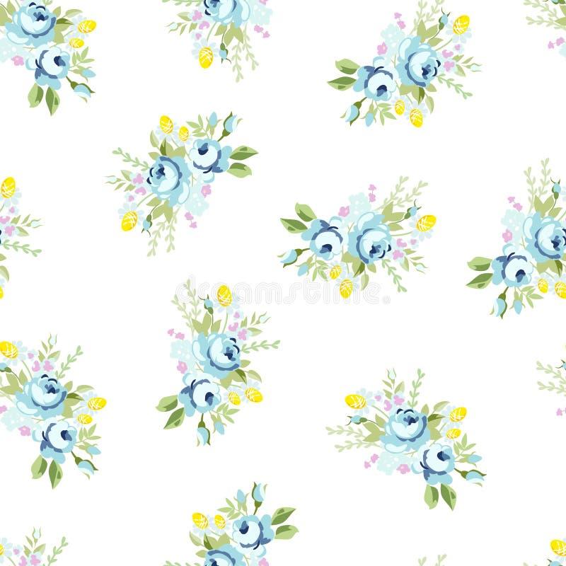 Modèle floral sans couture avec grand et peu rose bleue illustration de vecteur
