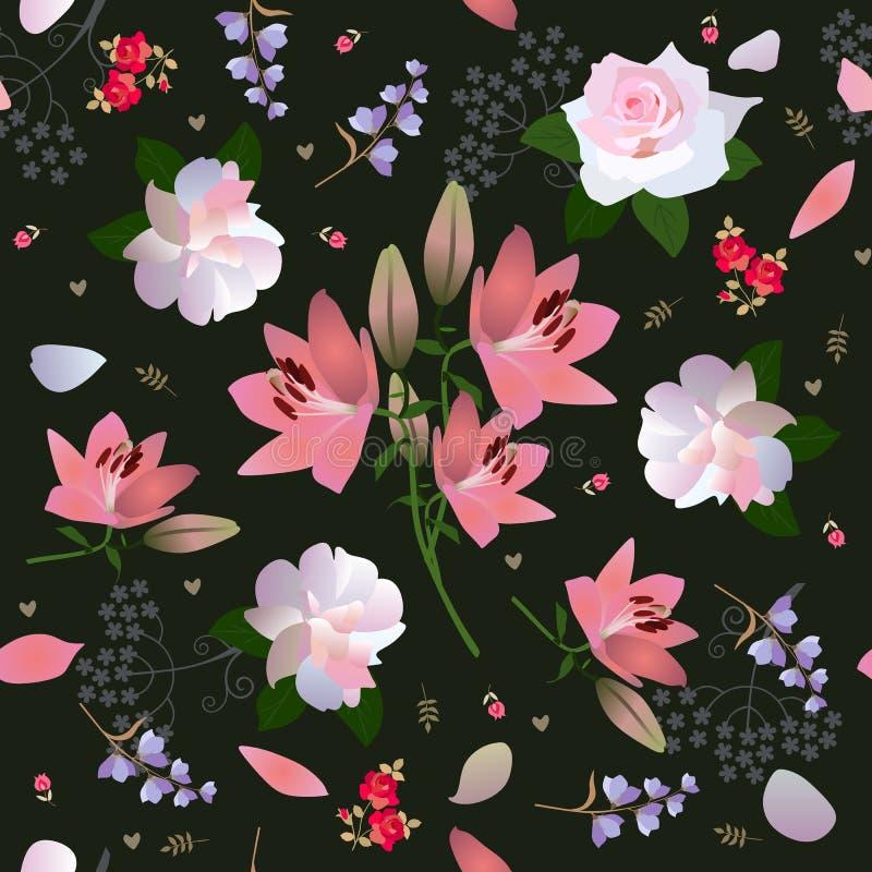Mod?le floral sans couture avec la fleur de luxe de jardin, aquarelle Copie pour le tissu Roses, lis, petites tulipes et fleurs d illustration libre de droits