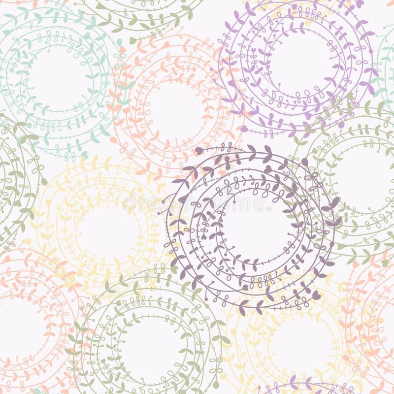 Modèle floral sans couture avec la guirlande colorée illustration stock