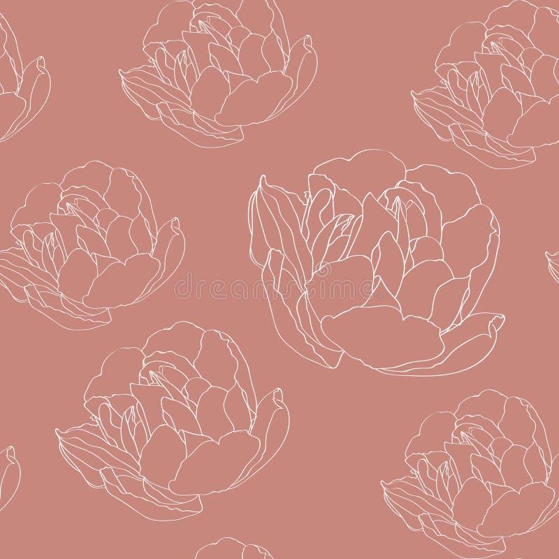 Modèle floral sans couture avec la ligne blanche silhouette illustration libre de droits