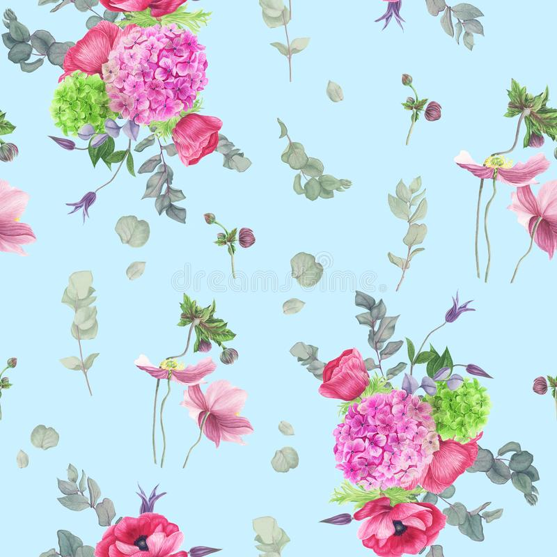 Modèle floral sans couture avec les anémones, l'hortensia, l'eucalyptus et les feuilles, peinture d'aquarelle illustration libre de droits