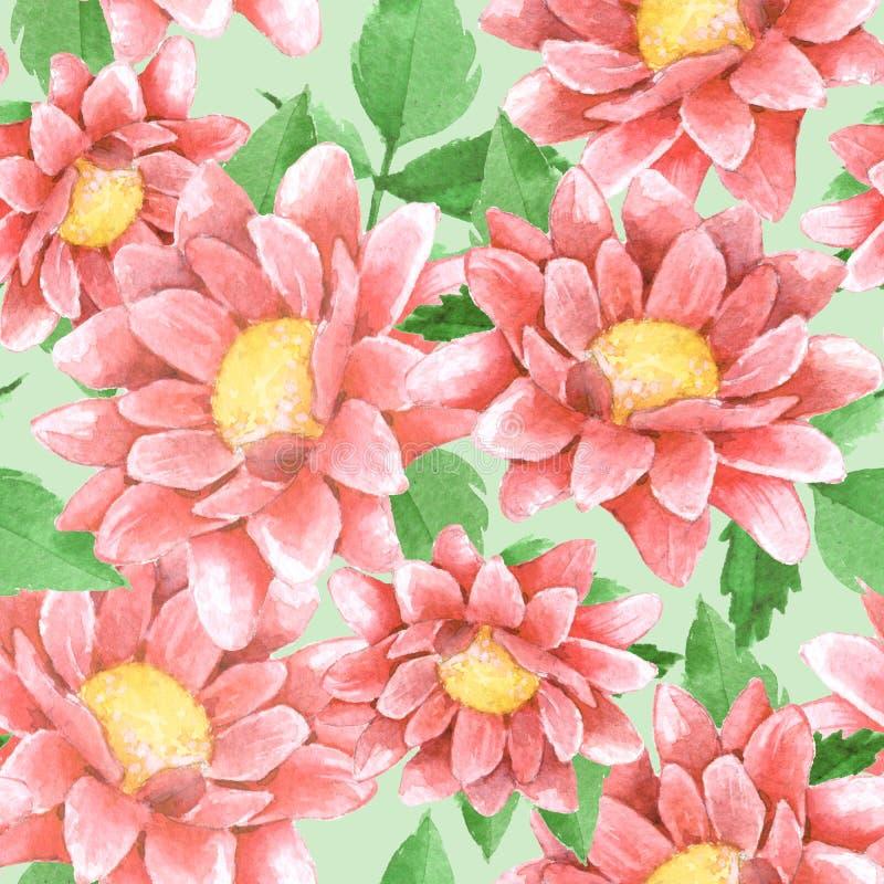 Modèle floral sans couture avec les chrysanthèmes 6 illustration libre de droits