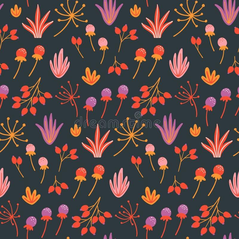 Modèle floral sans couture avec les fleurs sauvages, les feuilles et les herbes tirées par la main sur le fond foncé illustration libre de droits