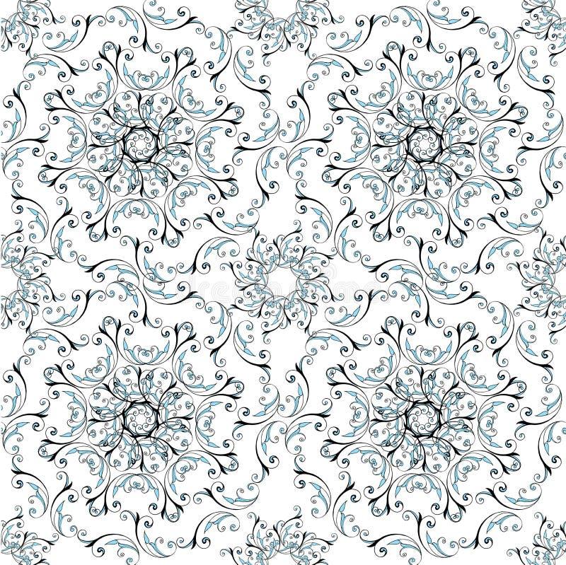 Modèle floral sans couture avec les ornements circulaires Contexte décoratif d'ornement pour le tissu, textile, papier d'emballag illustration de vecteur