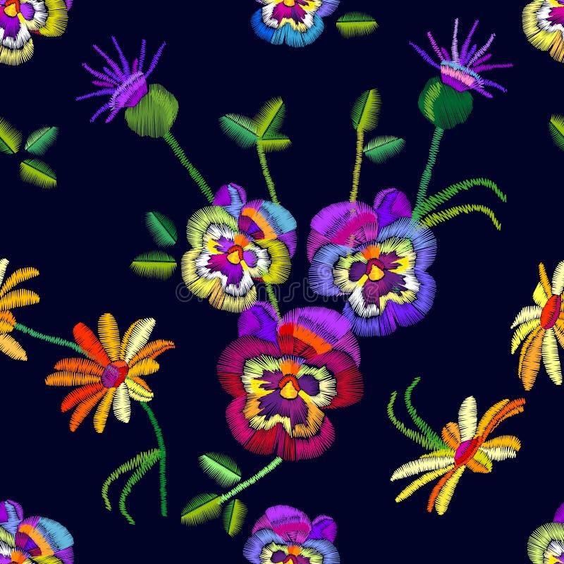 Modèle floral sans couture avec les pensées et les camomilles brodées illustration libre de droits