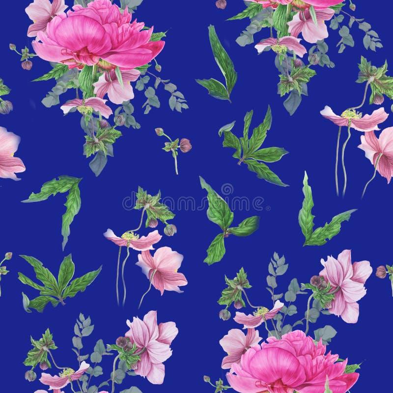 Modèle floral sans couture avec les pivoines roses, anémones, eucalyptus illustration libre de droits
