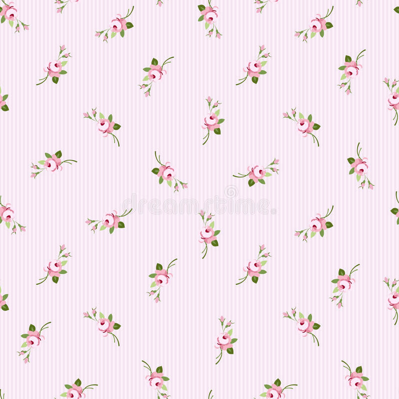 Modèle floral sans couture avec les roses roses de petites fleurs illustration libre de droits