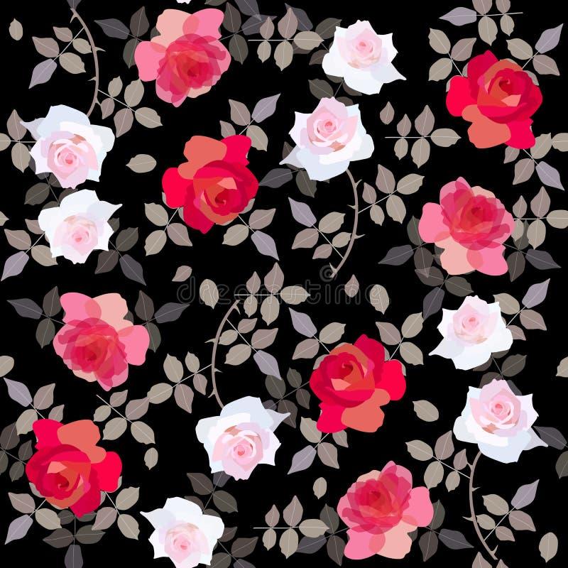Modèle floral sans couture avec les roses rouges et blanches sur le fond noir illustration libre de droits