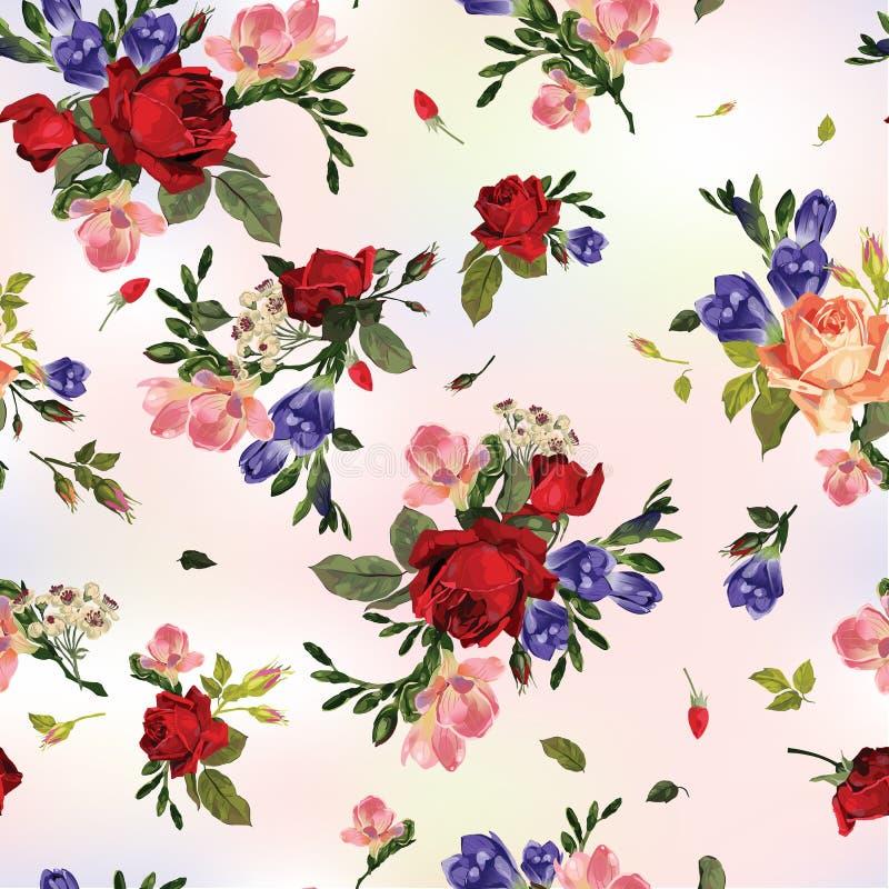 Modèle floral sans couture avec les roses rouges et rose abstrait et bleu illustration de vecteur