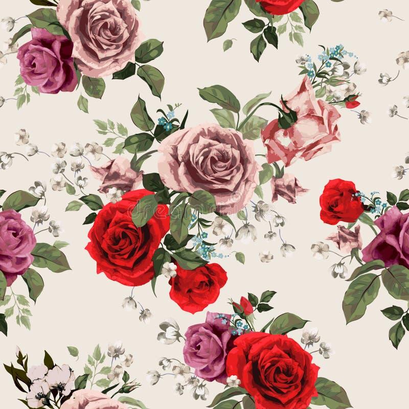 Modèle floral sans couture avec les roses rouges et roses sur le backgro léger illustration stock