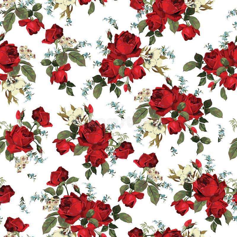 Modèle floral sans couture avec les roses rouges sur le fond blanc illustration stock