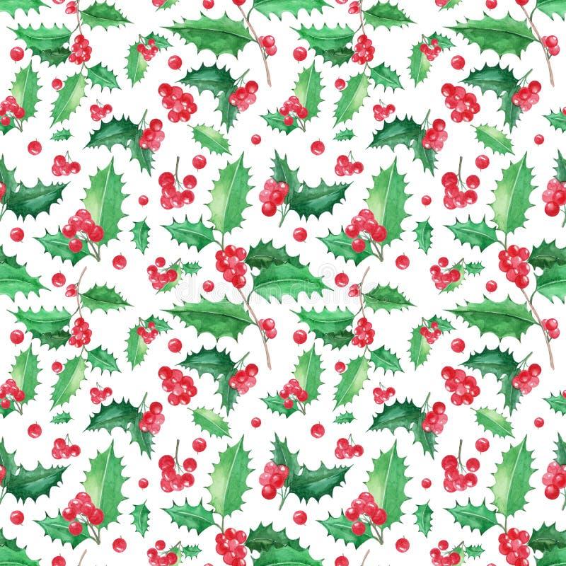 Modèle floral sans couture avec Noël de houx illustration stock