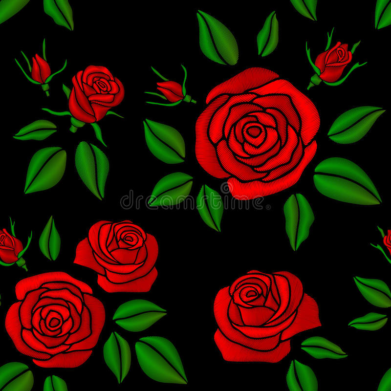 Modèle floral sans couture brodé de vintage de vecteur de fleurs de rose de rouge pour la conception de mode illustration libre de droits