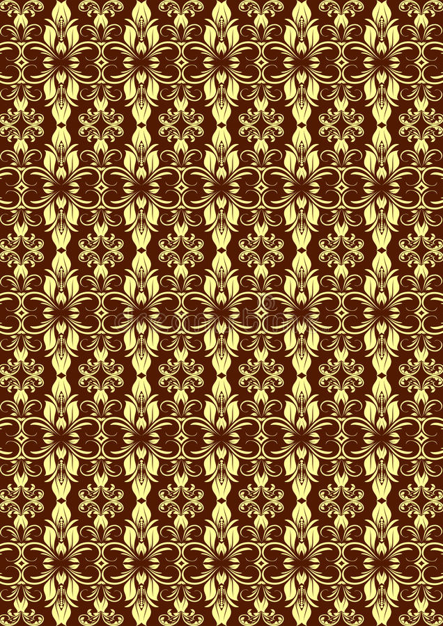 Modèle floral sans couture crème de Brown images stock