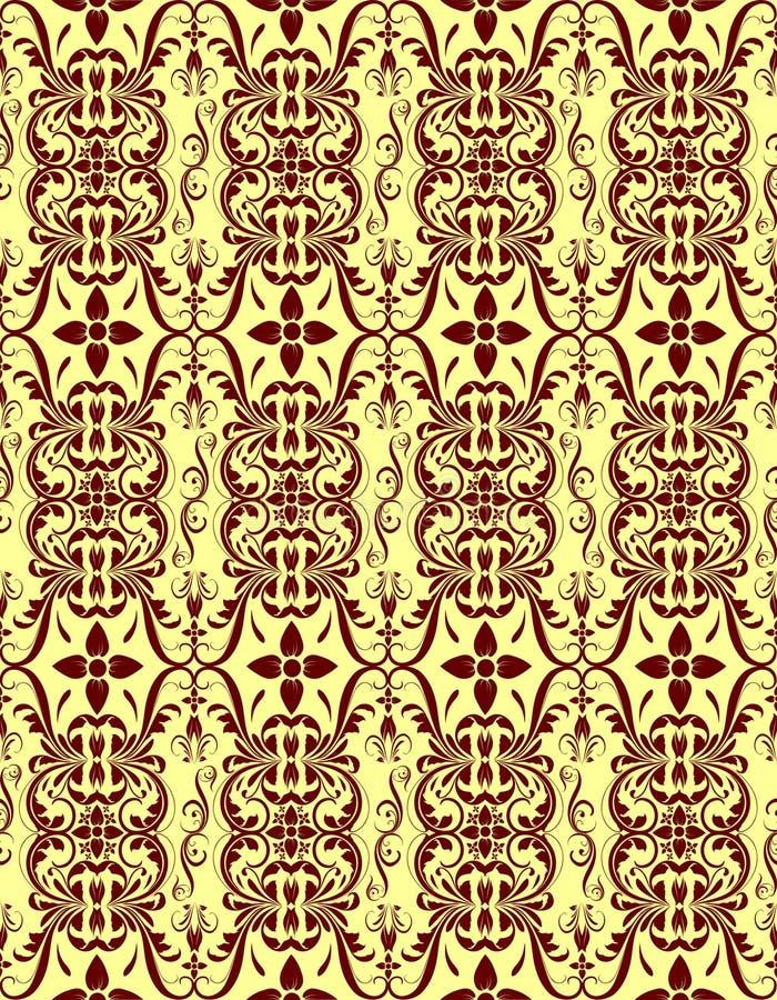 Modèle floral sans couture crème rouge image stock