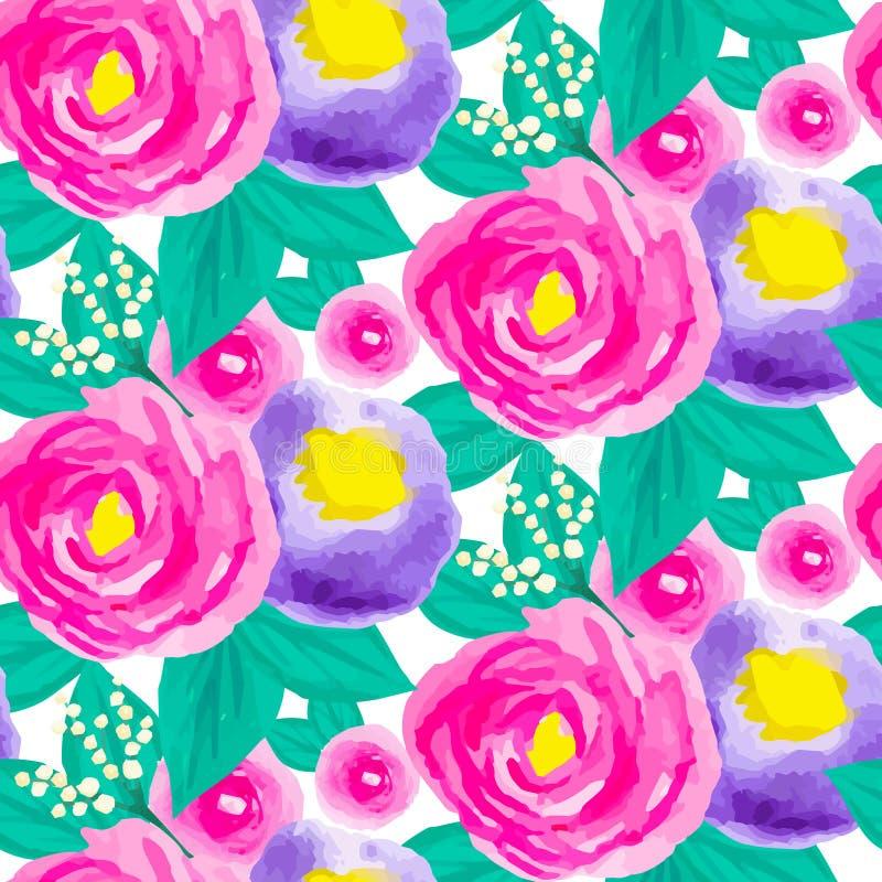 Modèle floral sans couture d'aquarelle illustration libre de droits