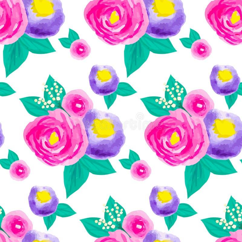 Modèle floral sans couture d'aquarelle illustration de vecteur