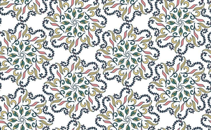 Modèle floral sans couture dans le style de Gzhel Modèle circulaire bleu sur un fond blanc Illustration de vecteur illustration de vecteur