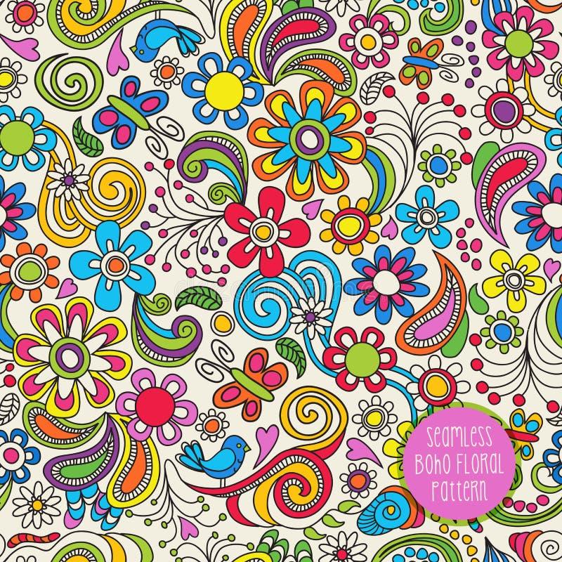 Modèle floral sans couture de Boho pour des milieux, papiers, tissus illustration stock