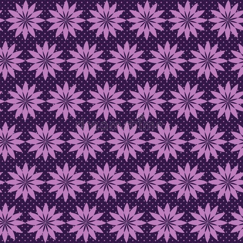 Modèle floral sans couture de couleur pourpre avec de petits points de polka à l'arrière-plan mauve-foncé images libres de droits