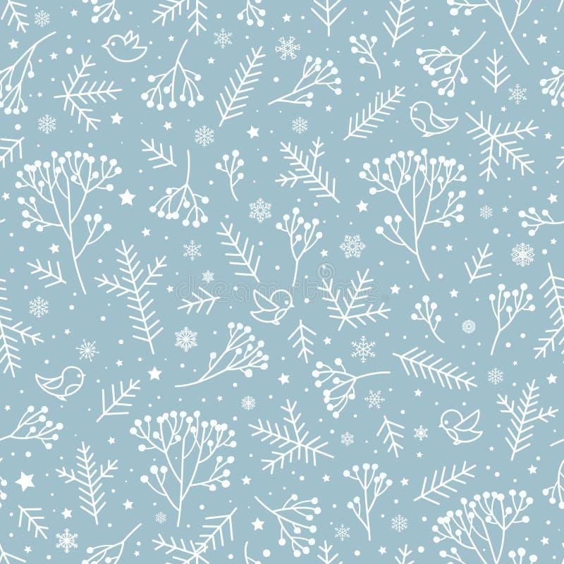 Modèle floral sans couture de nature de vacances d'hiver Ba de neige de Noël illustration stock
