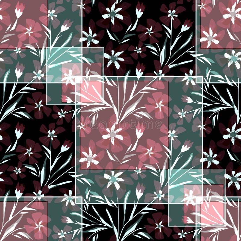 Modèle floral sans couture de patchwork, fond foncé illustration de vecteur