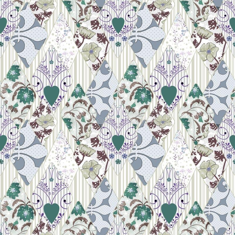 Modèle floral sans couture de patchwork rétro illustration stock