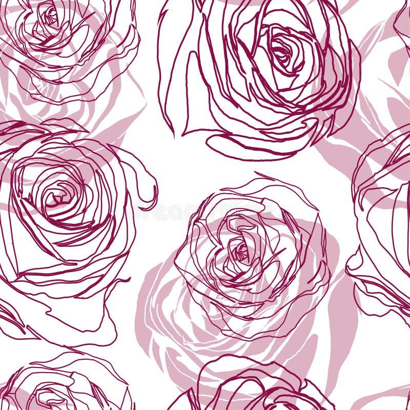 Modèle floral sans couture de vecteur avec des roses illustration stock