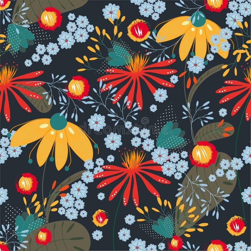 Modèle floral sans couture de vecteur sur le fond coloré foncé Texture, fond, papier peint illustration libre de droits