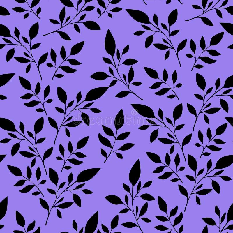 Modèle floral sans couture, feuilles noires sur le fond pour l'impression de tissus ou le fond, papier peint, annonce, bannière illustration stock