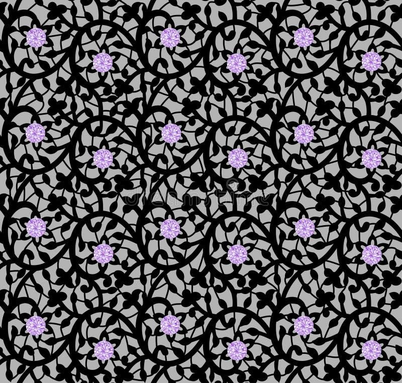 Modèle floral sans couture noir avec la dentelle et les diamants illustration de vecteur