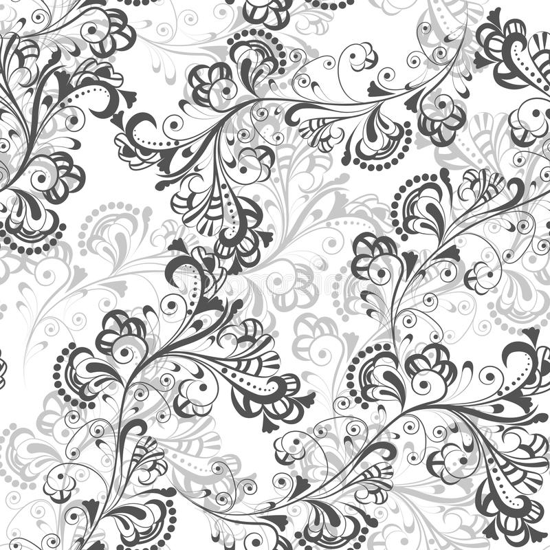 Modèle floral sans couture 1 noir et blanc illustration libre de droits