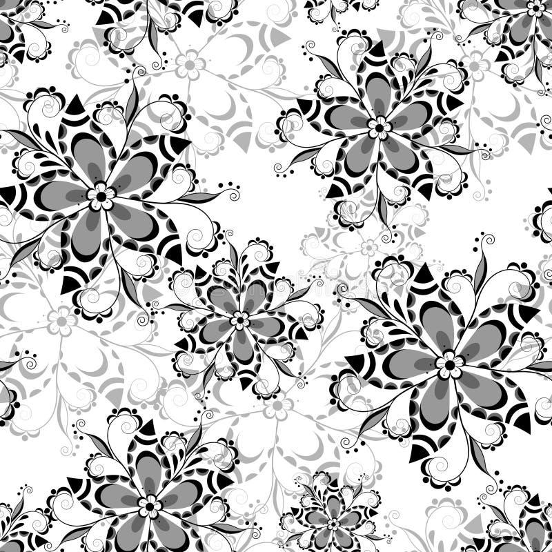 Modèle floral sans couture 3 noirs et blancs illustration libre de droits