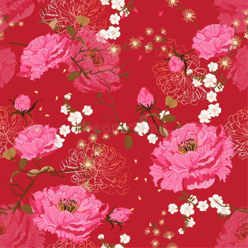 Modèle floral sans couture oriental mou et de gentel de vecteur rose de fleur Bloosom national chinois de pivoine et de cerise de illustration stock