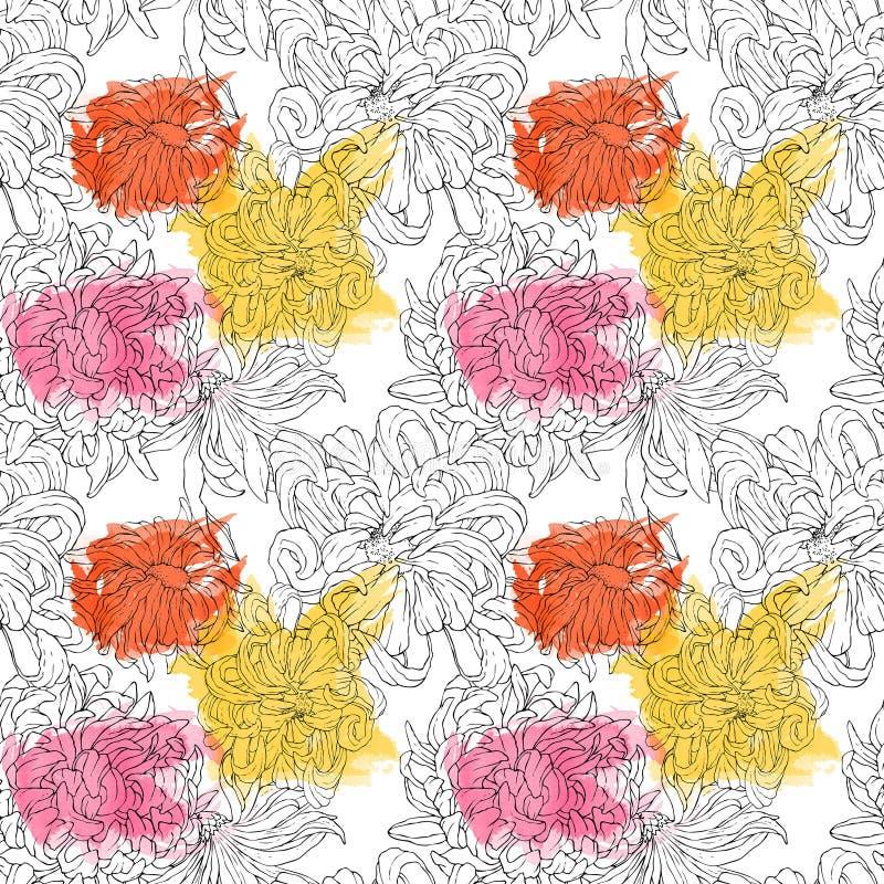 Modèle floral sans couture pour des textiles, emballage, papier peint, couvertures Fond floral d'aquarelle tiré par la main image libre de droits