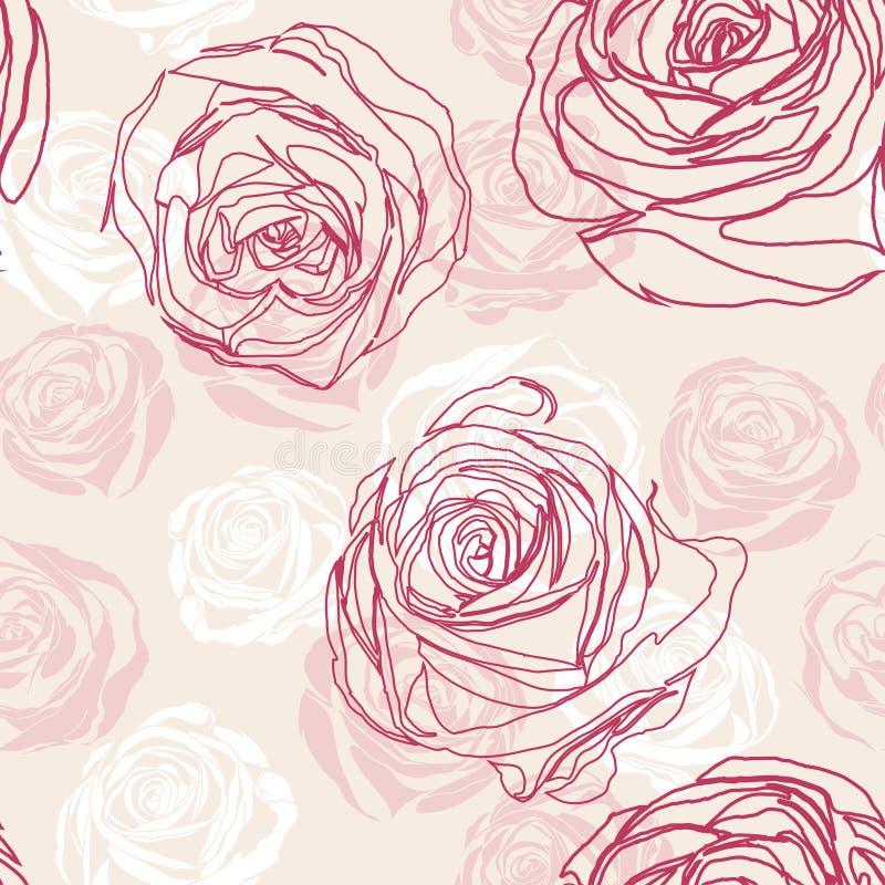 Modèle floral sans couture rose de vecteur avec des roses illustration libre de droits
